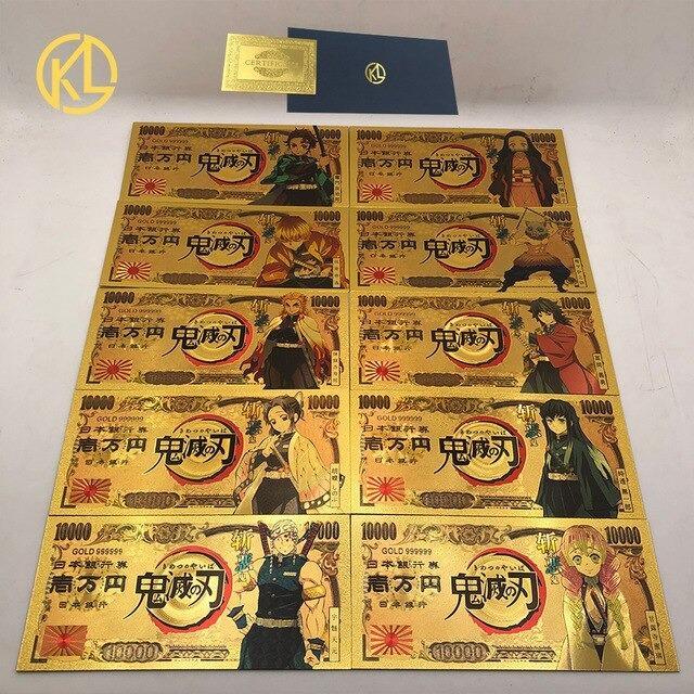 Demon Slayer Kimetsu No Yaiba Gold Plated Banknote Japan Yen Money Collection Anime Gift Merchandise