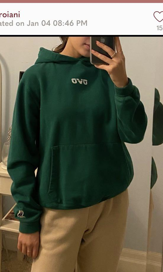 Green OVO hoodie with reflective logo