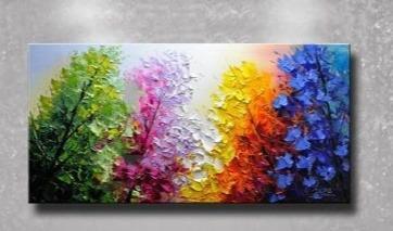 lukisan kanvas bunga abstrak 60 x 120 cm