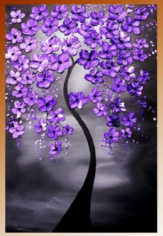 lukisan kanvas bunga ungu 60 x 120 cm