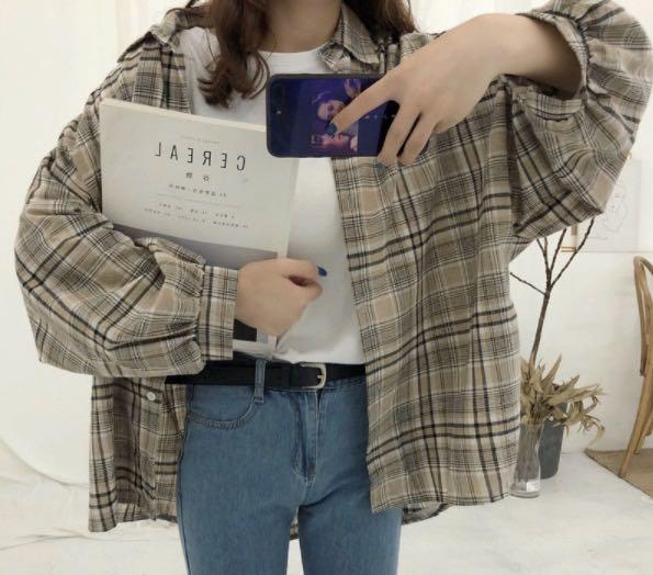 Oversized khaki flannel