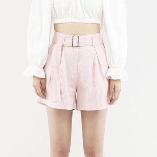 Brand New Pink Belted Linen Shorts