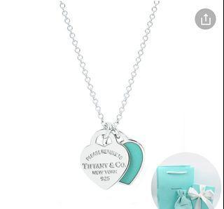 Tiffany&Co.迷你雙色雙心純銀項鍊#經典藍#925銀