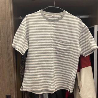 Uniqlo 灰白條紋上衣