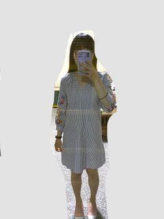 日系 森林系 條紋 刺繡 洋裝 裙子 #換季