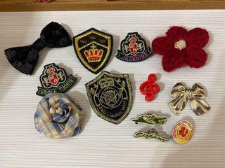 古著/vintage花朵蝴蝶結復古學院風各式別針徽章
