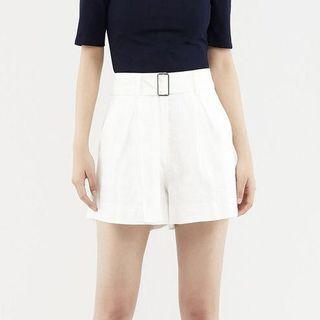 Brand New White Belted Linen Shorts