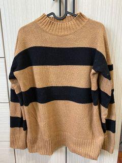 #正韓🇰🇷卡其條紋配色針織毛衣
