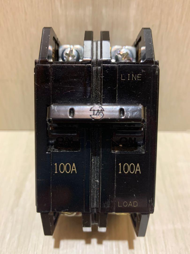 士林電機無熔絲斷路器 2P100A BH型 ICU:5KA  二手無熔絲斷路器 無熔絲開關  2P100A斷路器 開關