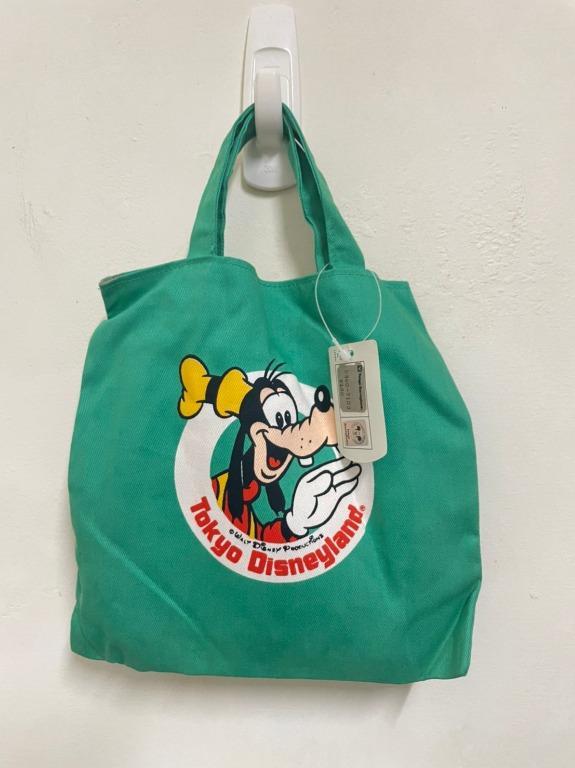 東京 迪士尼 Tokyo Disney 旅遊紀念品 高飛 卡通 狗狗 綠色 提袋 迷你 布袋 袋子 中古 絕版 收藏品