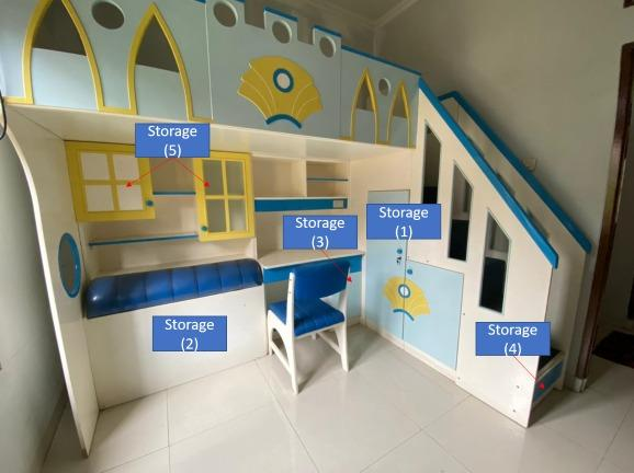 ALL IN ONE - Bed Storage Study Space For Kids - BEST PRICE