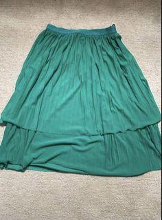 Teal pleated layered midi skirt