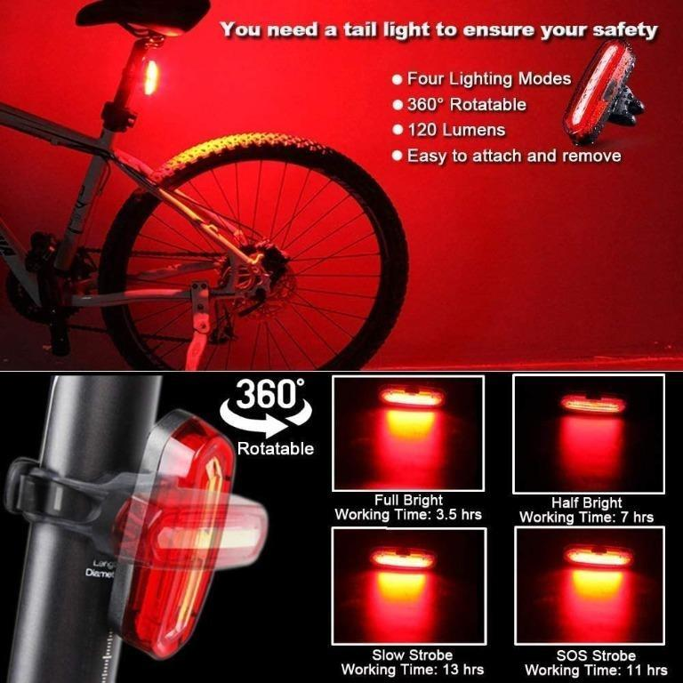 Bike Rear Lights LED Bicycle Cycling Tail Light 360° Rotatable Waterproof