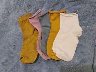 全新 五雙一起售 中筒襪子 捲邊襪子 蓋腳踝長度 襪子