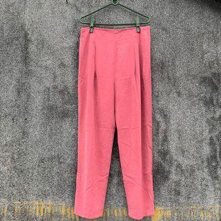 古著  vintage  蜜桃粉色 高腰 復古褲 XL 大尺碼