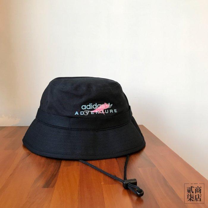 Adidas Adventure Bucket Hat 黑色 蜥蜴 漁夫帽 露營帽 三葉草
