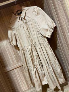Zara泡泡袖下擺寬鬆洋裝