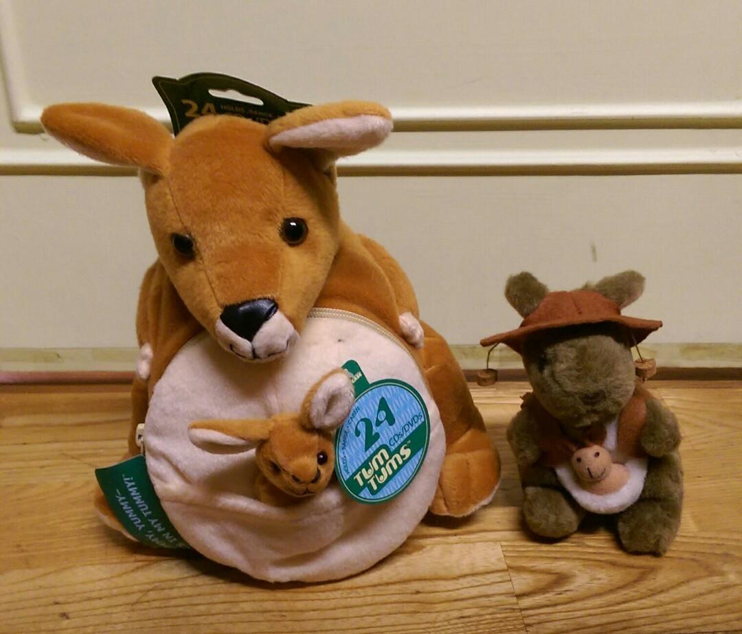 (3樣)澳洲袋鼠商品 絨毛袋鼠CD收納娃娃