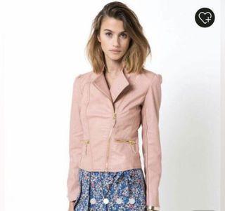 ❤️法國品牌仿皮粉色皮外套❤️