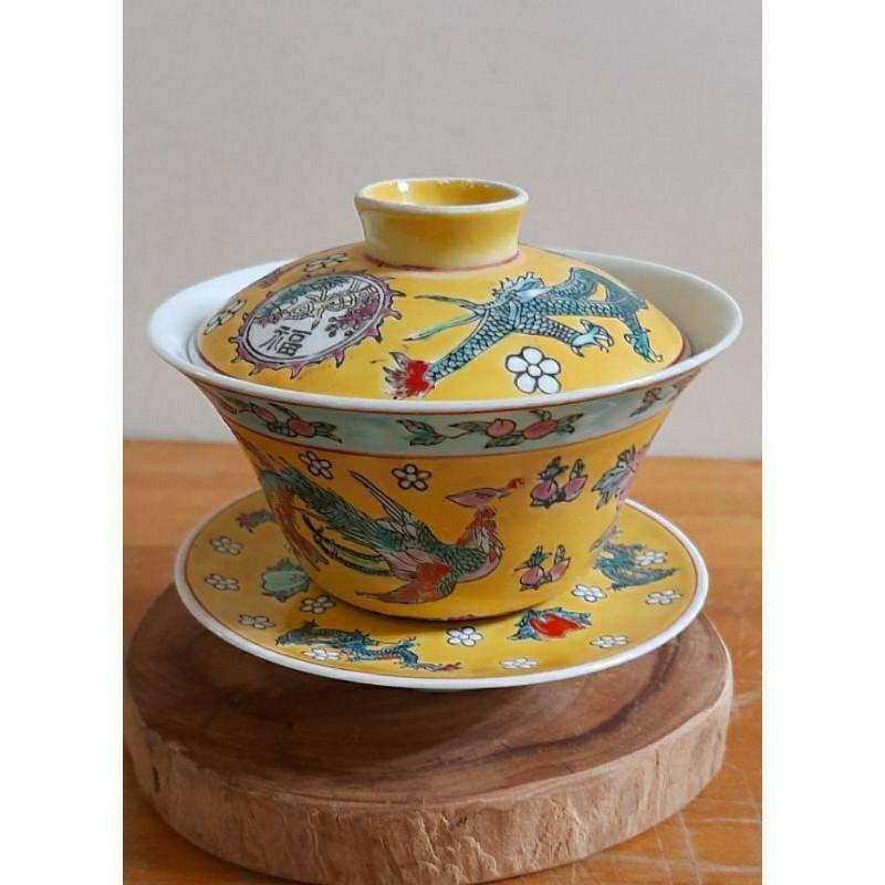 落款乾隆年製黃釉粉彩蓋杯組