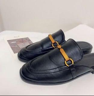 黑色金屬穆勒鞋 包頭拖鞋