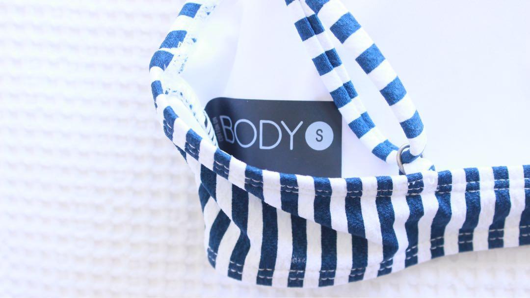 Cotton on body striped bikini top