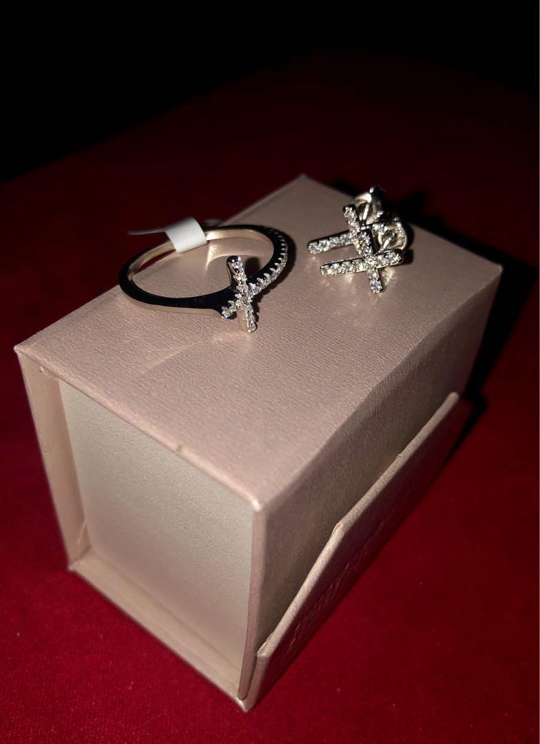 Cross ring/ earring set