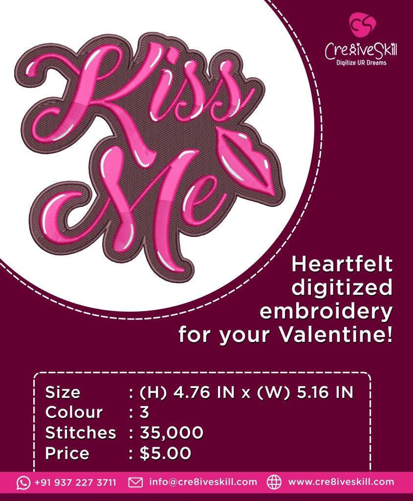 Embroidery Design: Kiss Me