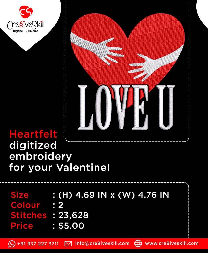 Embroidery Design: Love You