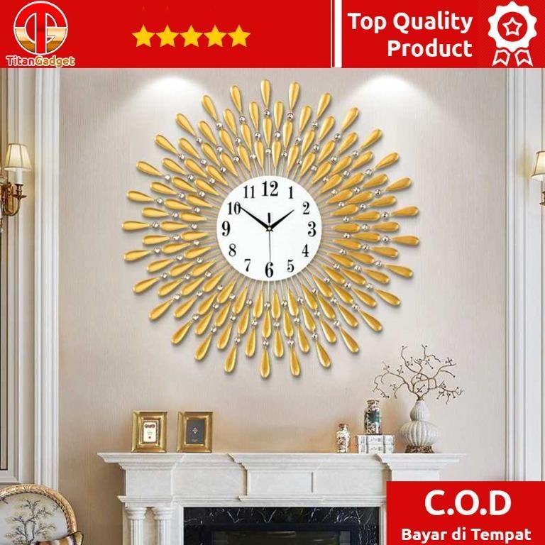 Jam Dinding 3D Quartz Creative Design Model Luxury Diamond 38 cm - H12 Titangadget