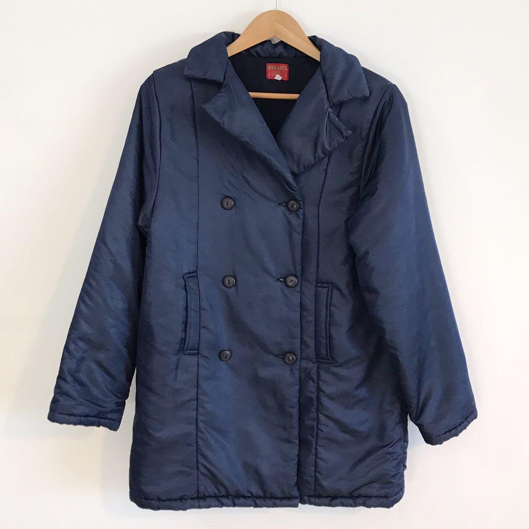 Kenzo 精品名牌 光澤感鋪棉長版大衣 突尼西亞製