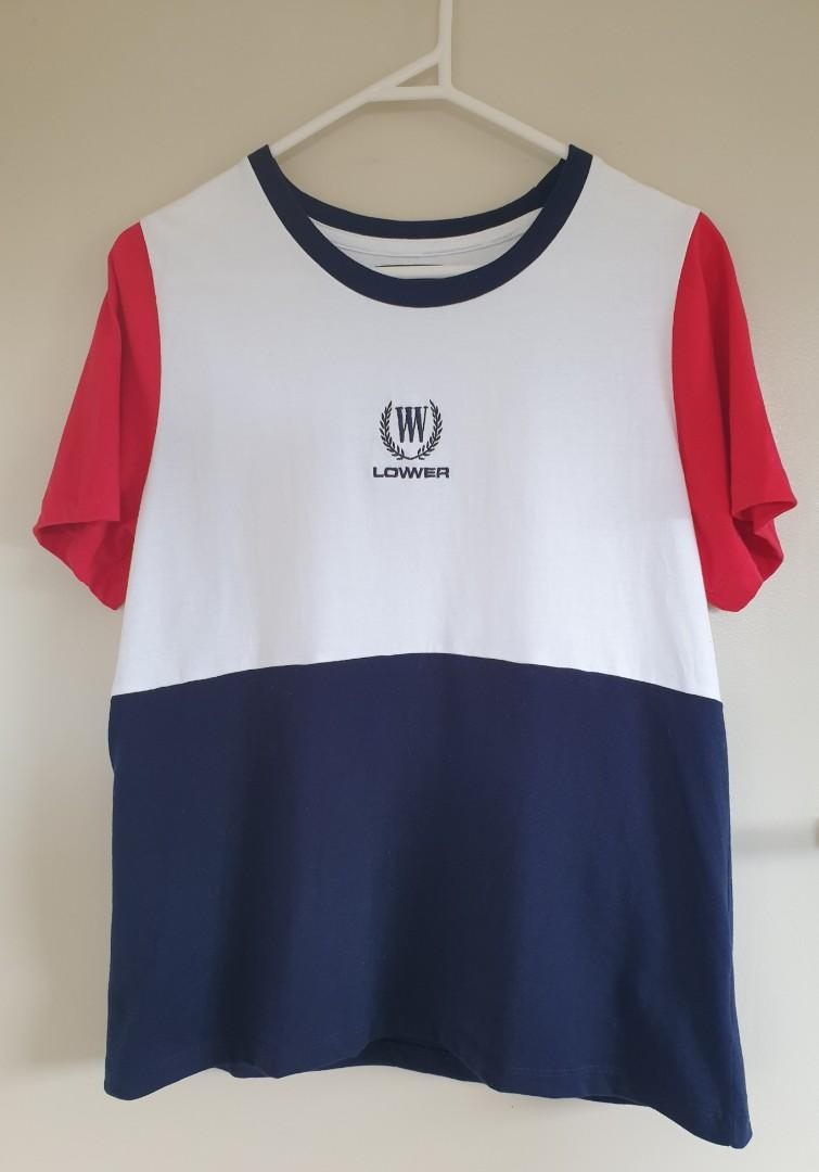 Lower white, red & navy top