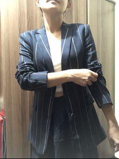 MANGO Navy Blue Striped Blazer