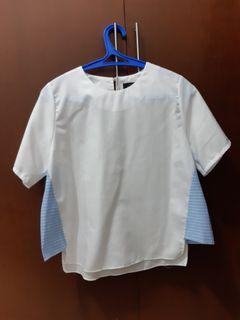 White Blouse with Blue Stripes