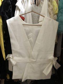 White Vest with Ribbon Detail on Sides
