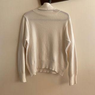 冬季|韓系白色高領針織上衣