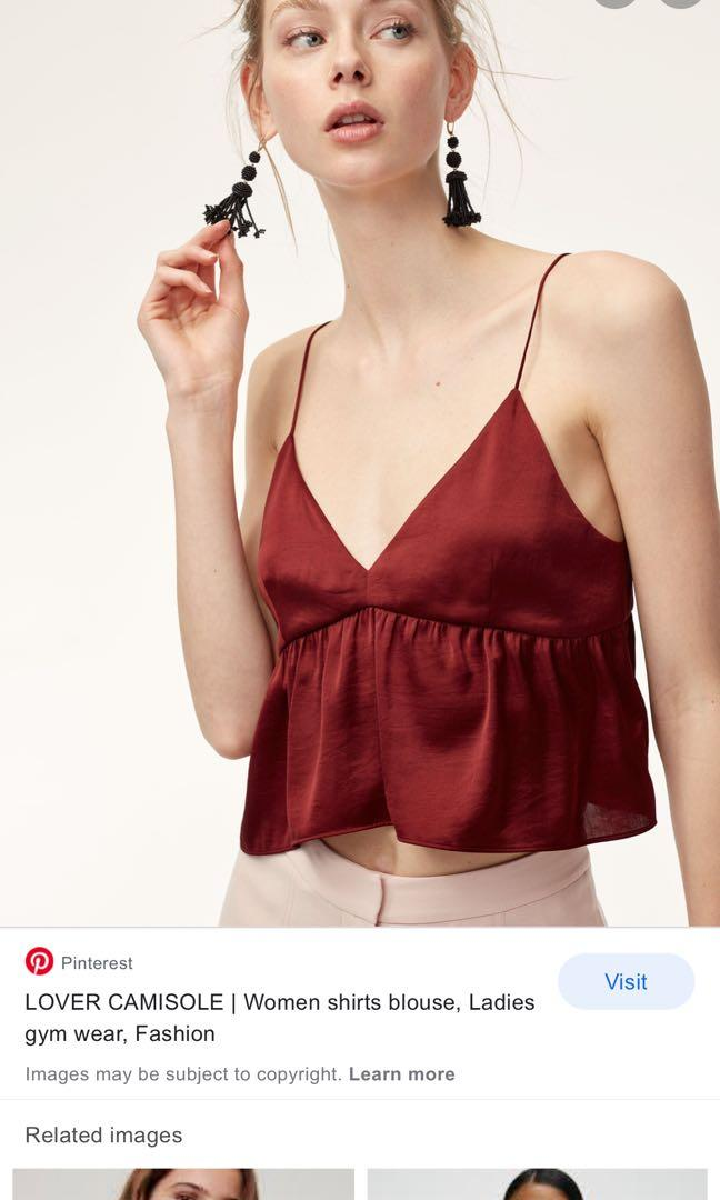 Aritzia little moon camisole burgundy size medium