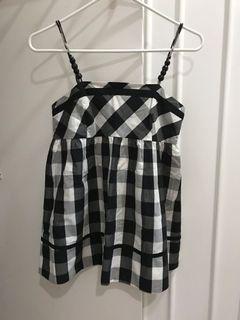 Black white plaid strap top