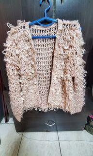 lulus 粉色亮片圈圈毛衣外套