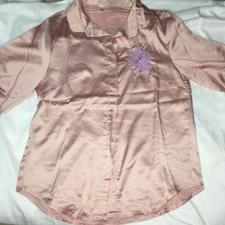 Pink oversized satin shirt/ kemeja korea baby pink satin