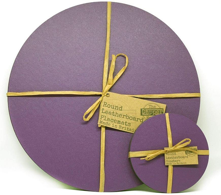 Set of 8 Elementry Grey Leatherboard Round Coasters Made in UK