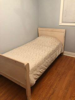 Twin light wood bed frame