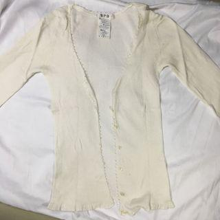 White cardigan rajut basic putih lidi kecil