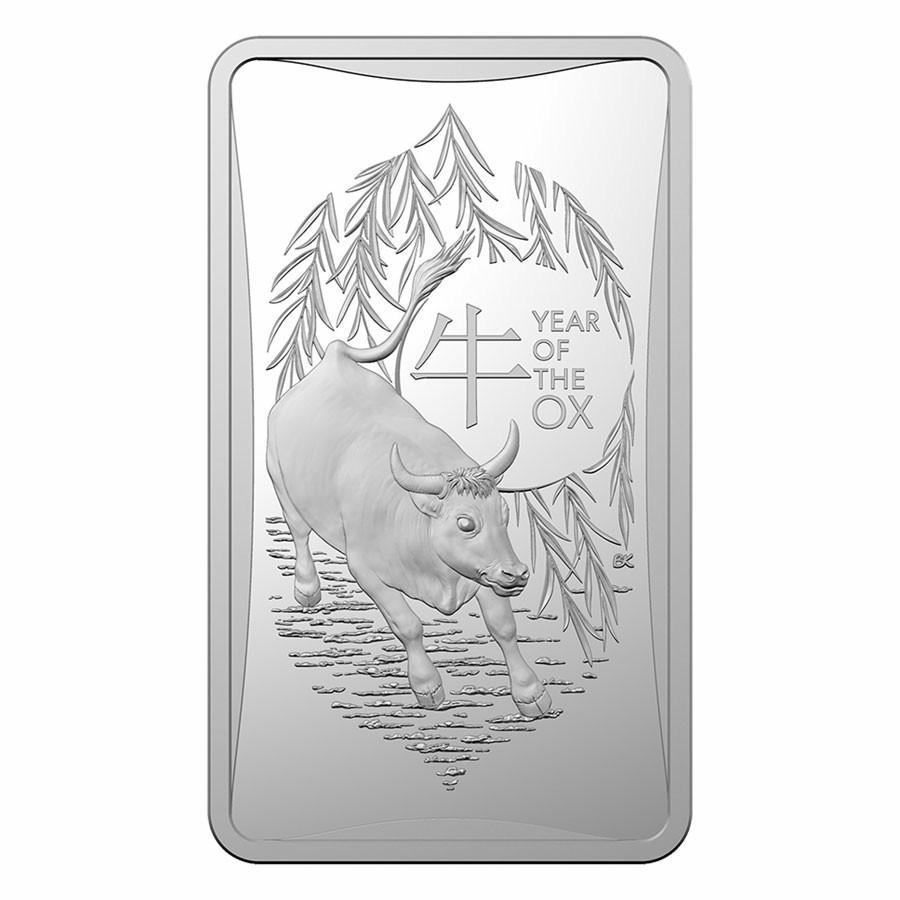 2021澳洲牛年銀條,銀條,生肖銀條,銀塊~2021澳洲牛年銀條(全新1/2盎司限量10000枚)