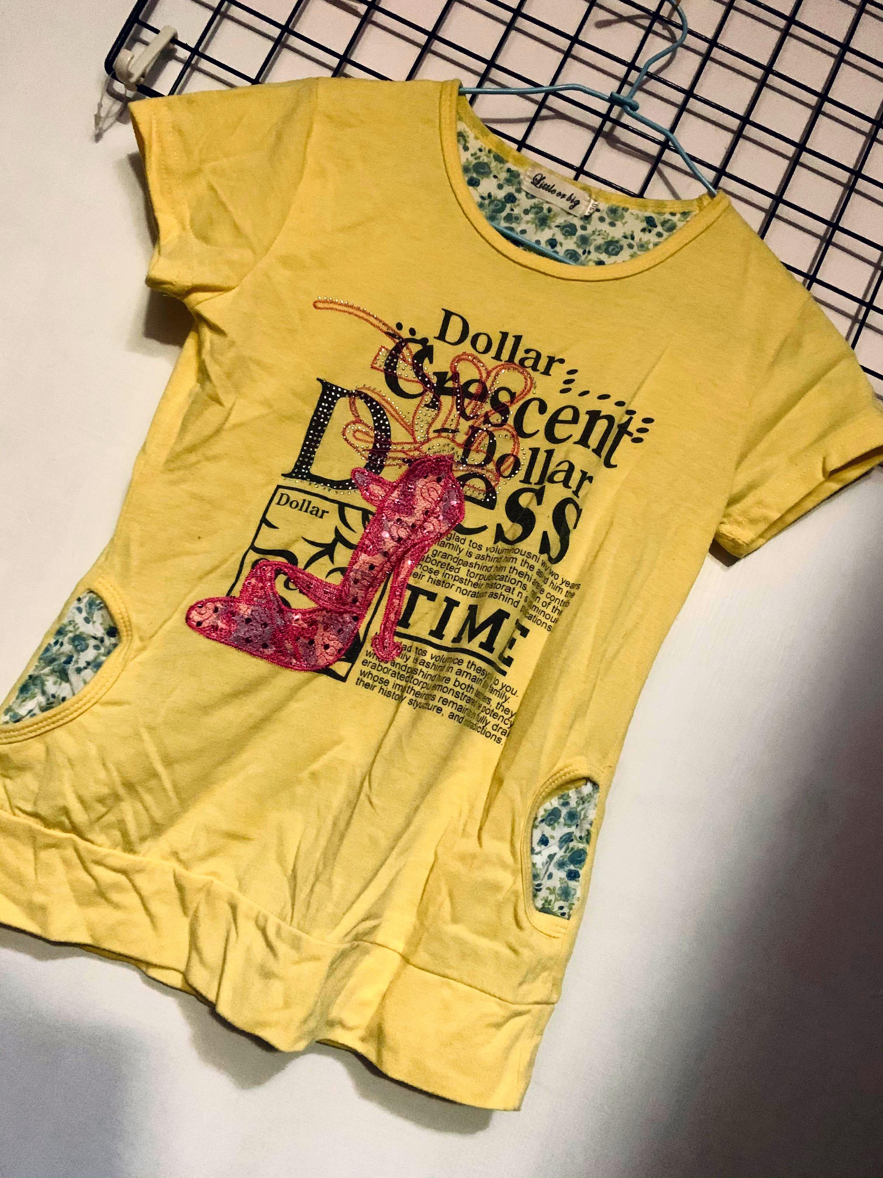 ♥️24h出貨、黃色の大童120號長板T恤