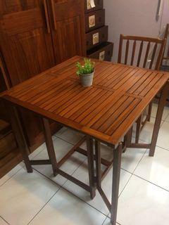 詩肯柚木,折疊收納桌+椅