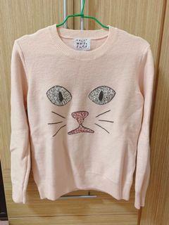 正韓 質感粉嫩針織毛衣 貓臉
