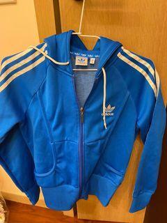 Adidas復古三葉草經典連帽外套(藍36)