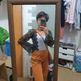 Bundle boho style top and mustard wideleg square pants