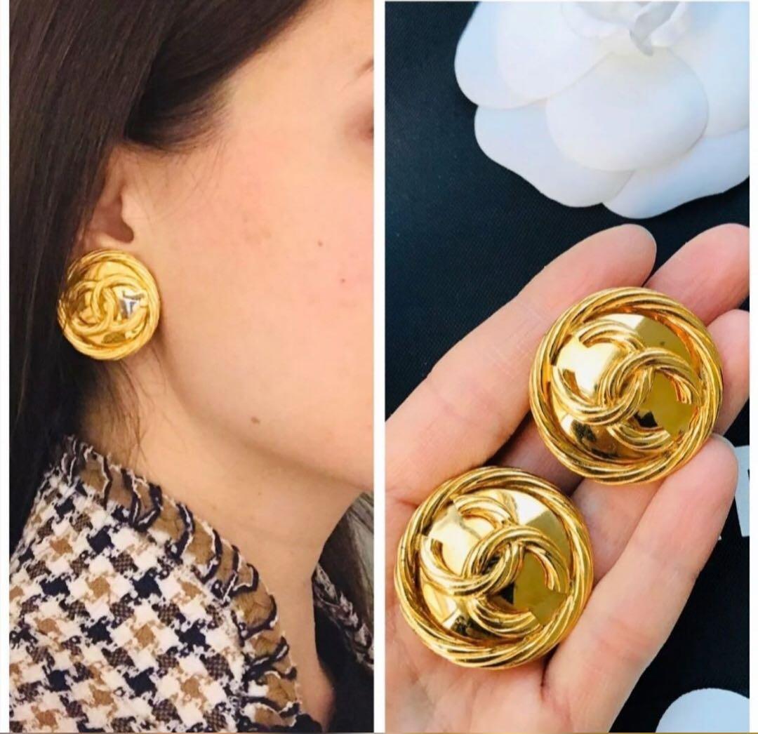 Chanel vintage 金色圓形耳夾🌟